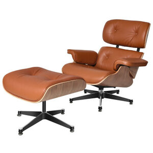 NEW Eams Walnut TAN Lounge Chair & Footstool Ottoman Real Leather Armchair Brown