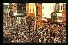 Louisiana LA postcard New Orleans Mardi Gras Parade Float chome Mirro-Krome