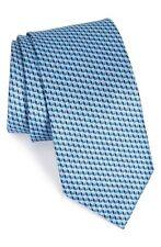NWT $295 Brioni Geometric Print Italian Blue Silk Tie