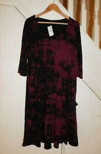 YOURS - NWT - SIZE 20 - 3/4 SLEEVE TRENDY PRINTED DRESS