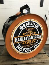 Harley Davidson Rocker 5 gal. 1927 Oil Can St. Louis MO Can Co Porcelain Sign