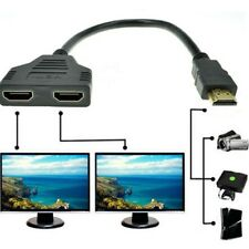 HDMI 2 Split Double Signal Adapter Convert Cable for Sending Video to TV HDTV