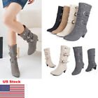 US Women's High Heels Riding Mid Calf Suede Boots Buckle Winter Ladies Shoes New