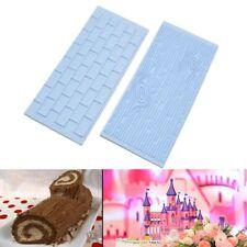 2pcs/set Tree Bark Brick Wall Bakeware Tools Silicone Fondant Mold Cake Decor./;