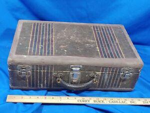 Antique Art Deco Small Childs Suitcase 18x11x6 Toy Box Latch Stripes VTG Trunk