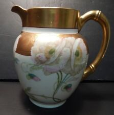 AK LIMOGES FRANCE LARGE WATER PITCHER HAND PAINTED BY PICKARD - STUNNING!!