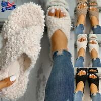 Womens Slip On Sliders Slippers Fluffy Fur Flats Sandals Mules Winter Shoes Size