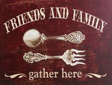 """TIN SIGN """"Friends and Family"""" Quotes Art Deco Garage Wall Decor"""