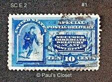 US SC E2 10¢ SPECIAL DELIVERY - MESSENGER ON BICYCLE 1902 MLH OG P12 F-VF