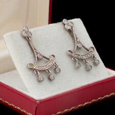 Antique Vintage Art Deco Style Sterling Silver Cubic Zirconia Dangle Earrings