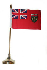 """ONTARIO CANADA PROV. 4"""" X 6"""" inch stick flag with GOLD STAND on 10"""" plastic pole"""