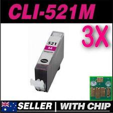 3x Magenta Ink Canon CLI521 CLI521M MP620 MP630 MP640 MP980 MP990 MX860 MX870