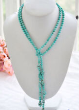 "Real 6mm round turquoise & blue baroque bead necklace 50"" JN1224"
