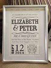 NOZZE Personalizzati STAMPA / WordArt regalo per anniversario matrimonio / fidanzamento