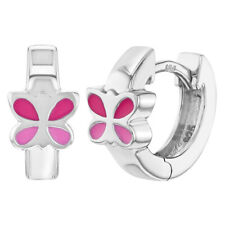 "925 Sterling Silver Pink Enamel Butterfly Huggie Hoop Earrings for Girls 0.47"""