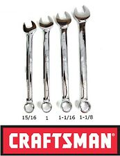 NEW POLISHED CRAFTSMAN 4 pc PIECE LARGE STANDARD SAE COMBINATION WRENCH SET