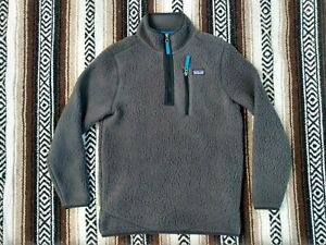 Patagonia Deep Retro Pile Fleece Gray Youth L MINT Boys 1/4 zip Jacket pullover