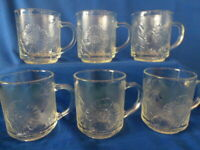 Kig Malaysia Clear Glass Hibiscus Coffee Mugs Set of 6