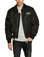 ALPHA INDUSTRIES Men's CWU 45 Coat Padded Flight Bomber Jacket  Black Large