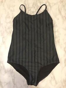 Albion Fit Sz L Blue Gray Striped Classic One Piece Swimsuit