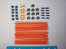 "MICRO KNEX Rods & Connectors Mix: 8"" Orange, Blue Purple Gray 70 Mini Parts Lot"