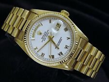 Mens Rolex Day-Date President 18K Yellow Gold Watch Quickset White Roman 18038