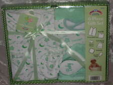 6 pc Layette Set Baby Green Vest Cap Mittens Bib New!