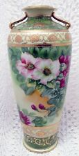 BEAUTIFUL HAND PAINTED NIPPON EARLY 20TH CENTURY FLORAL HIGH GOLD VASE