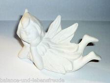 Dekorative kleine Elfe, liegend , Keramik, ca. 9,5 cm, Elfen-Figur, Engel-Figur