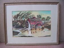 "ORIGINAL: WATERCOLOR BY G. SANKEY 15""x20"", MILL HOUSE, WATER WHEEL, POND"