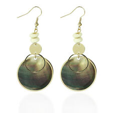 One Pair Retro Double Round Shell Long Pendant Hook Earrings Party Jewellry Gift
