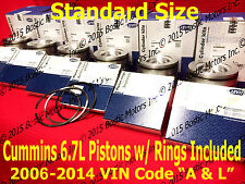 Dodge CUMMINS 6.7 6.7L PISTONS STANDARD w/Rings 2006-2014 MAHLE Matched Set