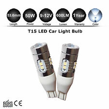 2x T15 White 9-12V W16W 50W CREE LED Reverse Backup Clearance Light Wedge Bulbs