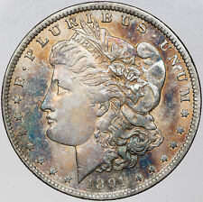 1891-P MORGAN SILVER DOLLAR BOLD MULTI COLOR TONING UNC BU CHOICE (MR)