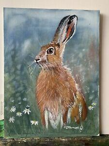 Brown Hare Portrait  Wildlife Rabbit Fox Wildlife Oil  Painting On Board