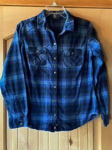 Womens Eddie Bauer Blue Plaid Long Sleeve Flannel Shirt M