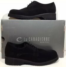 La Canadienne Hudson Women's Size 7.5 Black Suede Oxfords Shoes $335 ZG-102