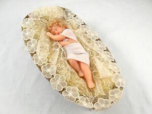 VINTAGE BABY JESUS CHRIST WAX DOLL IN MANGER NATIVITY CRECHE FIGURINE
