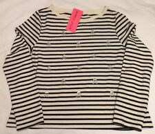 Betsey Johnson Embroidered Cream/Navy Stripe Skull Pullover Top - Size Med. NWT