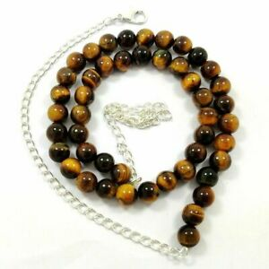 NATURAL BROWN TIGER'S EYE GEMSTONE SILVER PLATED ROUND BEADS NECKLACE JEWELRY