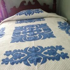 """Beautiful Antique appliqué Quilt Blue & White 69"""" X 96"""" Excellent Condition!"""