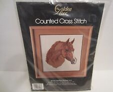 """Brown Stallion Horse Face Counted Cross Stitch Kit  #60248  Size 12""""X12""""  1986"""