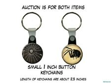 Spider and Web Gothic Steampunk Poe set of 2 Key Chains