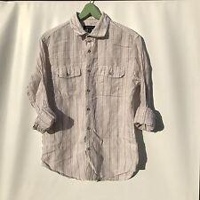 🏝Banana Republic Men's Sz M 15-15.5 Linen Long Sleeve Striped Button Up Shirt