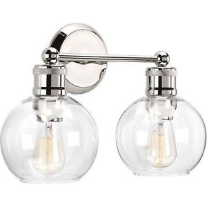 Progress Lighting 2-Light Bath Vanity Hansford Collection Sconce Polished Nickel