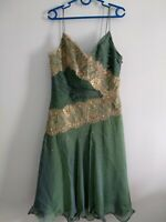 Anoushka G Green & Gold Prom Cocktail dress embellished ruched size 10 Silk Y2K