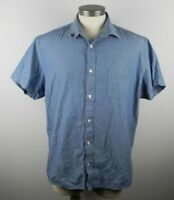 Banana Republic Men's Soft Wash Slim Fit Button Up Short Sleeve Blue Shirt XL