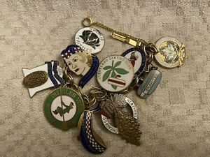 CURLING CLUBS Vintage Charm Bracelet. OOAK 10 Clubs Represented! USA & Canada