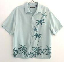 Cubavera Mens Linen Camp Shirt Mint Green Bamboo Top Stitching Button-Front XL