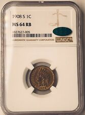 1908S Indian Head Cent NGC MS64 RB CAC Nearly Red!